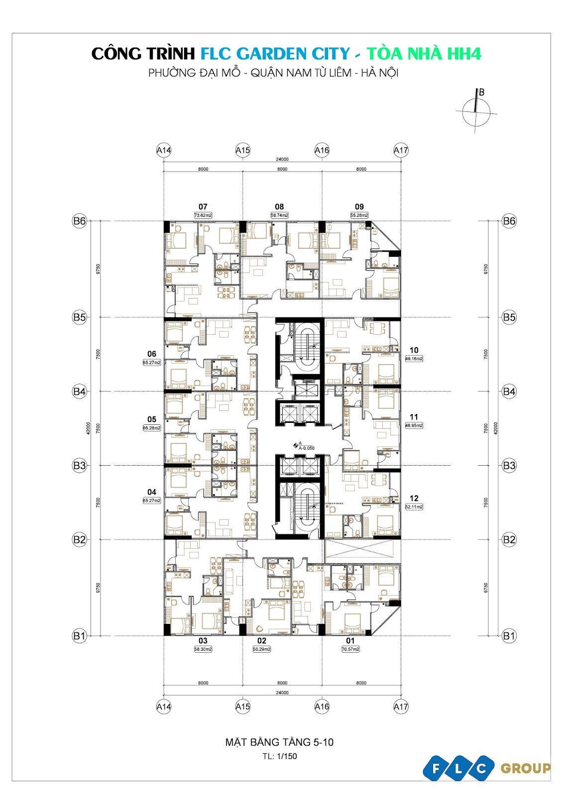 Mặt bằng tổng thể HH4 FLC Garden City (tầng 5 - tầng 10)