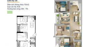 Thiết kế căn 3 Phòng ngủ tại dự án Athena Complex Pháp Vân